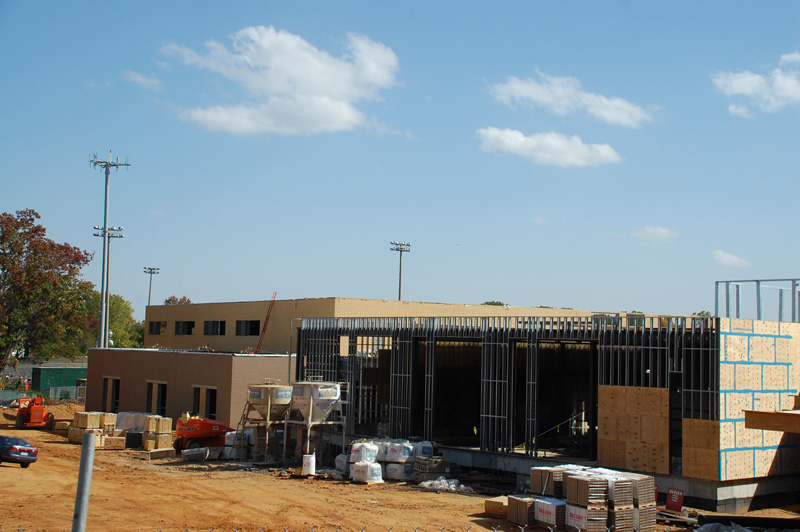 A look at the new gym building from George Mason Dr.