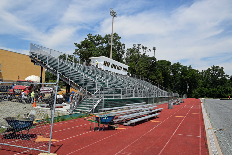 The new home bleachers and public address booth are up.