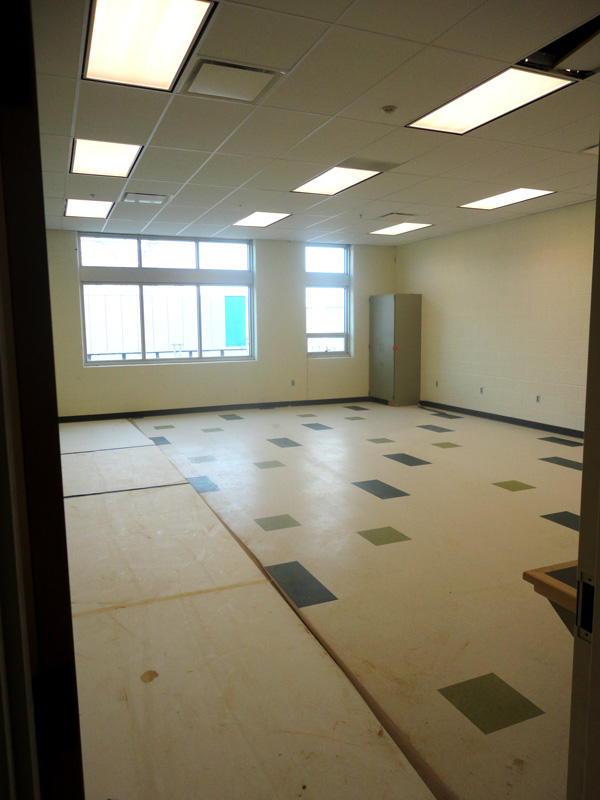 Inside a classroom showing the new floor tiles